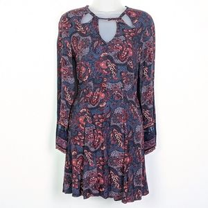 AEO Paisley Floral Cut Out Long Sleeve Dress